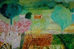 Campo con alberi e fiori - Olio su carta 70 x 50 - € 200