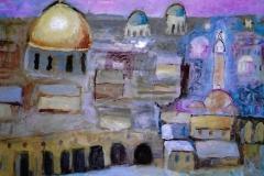 Gerusalemme con la cupola d'oro della roccia - 50 x 35 € 200