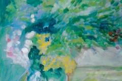 Vaso con fiori su cassetta di colori - 50 x 35