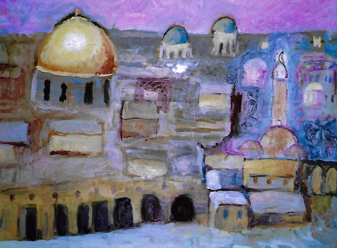 Gerusalemme con la cupola d'oro della roccia 50 x 35